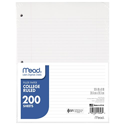 """Mead Loose Leaf Paper, College Ruled, 200 Sheets, 10-1/2"""" x 8"""", Lined Filler Paper, 3 Hole Punched for 3 Ring Binder, Writing & Office Paper, Perfect for College, K-12 or Homeschool, 1 Pack (15326) , White"""