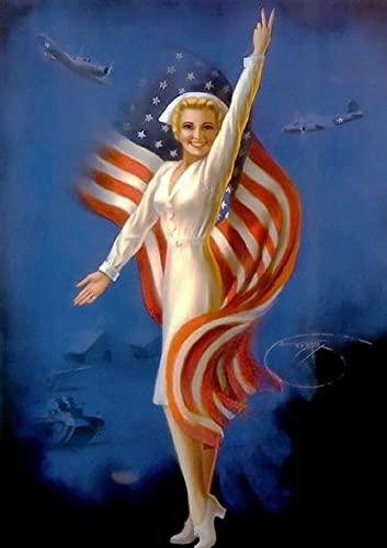 OKWallArt Pintura de diamante 5D 30 x 40 cm, Pin-Up Girl American Red Cross Army Nurse WW II - Póster de la guerra II