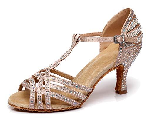MINITOO L404 Damen Lateinische Salsa T-Strap Kristalle Fashion Satin Social Dance Schuhe Braut-Sandalen, Braun - Nude - Größe: 35.5