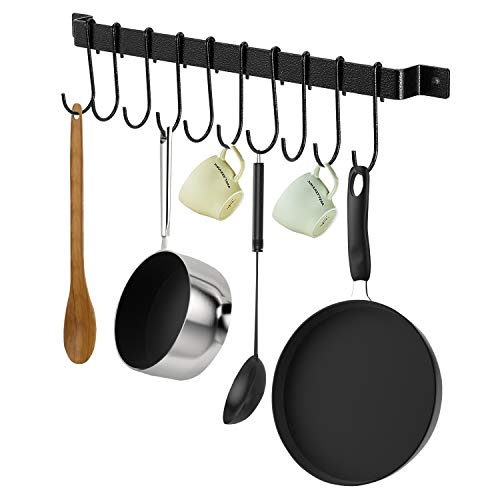 X-Chef Kitchen Rail with 10 S Hooks 17inch Utensil Rack Wall Mounted for Pot Pan Lid Spatula Kitchen Hooks for Utensils Black