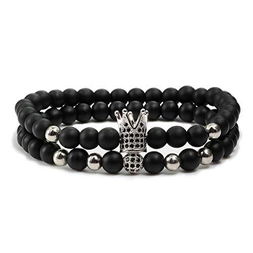 FBXXX, armband voor heren, natuursteen, elastisch koord, koord, koord, imperiale en bolletjes, parels, paar armbanden amuleti, sieraden, pulseira