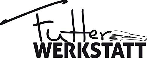 GRAZDesign Wanddeko Küche Esszimmer Besteck mit Spruch - Küchen Wandtattoo lustiges Küchen Motiv - Wandtattoo für Küche Wand-Spruch Futter Werkstatt / 76x30cm / 070 schwarz