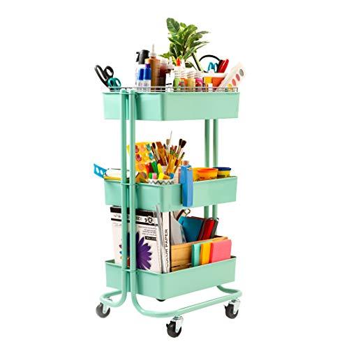 """Seville Classics 3-Tier Rolling Steel Storage Bin Utility Kitchen Trolley with Wheels Cart, 16.7"""" W, Green"""