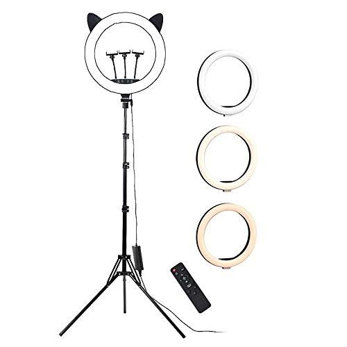 Hay 24 Ganchos retro''LED Luz Del Anillo/Anillo De Luz LED Con Trípode Soporte Para Teléfono Altura Ajustable Anillo De Luz Selfie Con 3 Colores & 10 Brillo Para Maquillaje,Transmi-D 17.7 pulgadas