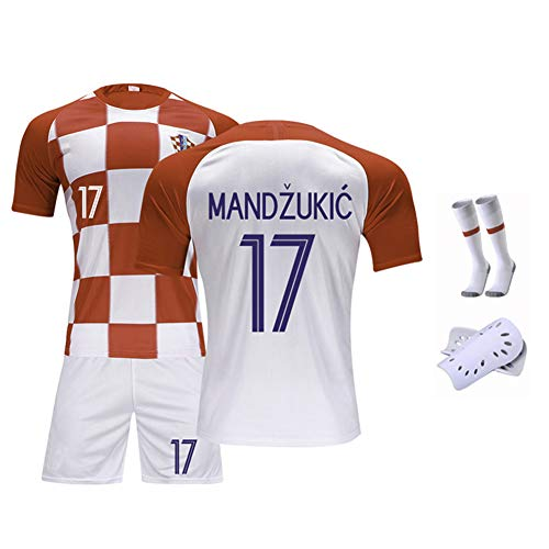 Kinder Fußball Trikot Set-17# Mandzukic Kroatien Unisex Trainingsuniform Athleten Trikot Fans Anzug Teenager Sportswear Mesh Schnelltrocknendes Kurzarm Fans Sweatshirt-XXS(140.150CM)