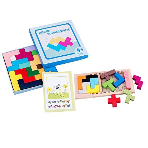 U-A Rompecabezas de los niños Tetris, tridimensionalmente montados Bloques de Madera, Apto para Regalos de cumpleaños para niños y niñas Mayores de 3 años