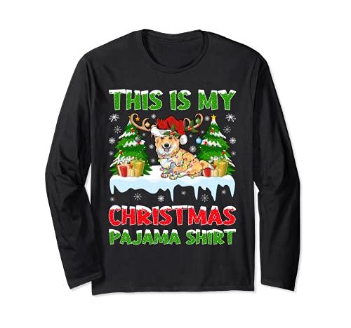 This Is My Pijama Corgi Camisa Santa Sombrero Corgi Navidad Manga Larga