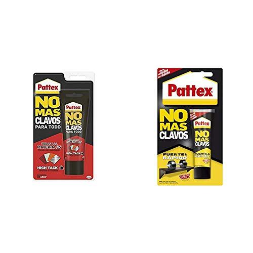 Pattex No Mas Clavos Para Todo HighTack Adhesivo de montaje resistente a temperaturas extremas + No Más Clavos Original, adhesivo de montaje resistente, pegamento extrafuerte para madera, metal y más