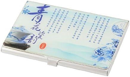 Blaue chinesische Schriftzeichen Bl�mchenmuster Horizontal Kredit Bezeichnung ID-Kartenhalter Box : B�robedarf & Schreibwaren