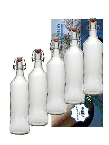 Vitrea 18er Set Bügelflaschen Bügelflasche Glasflaschen mit Bügelverschluss 1L 1000 ml zum Selbstbefüllen inklusive