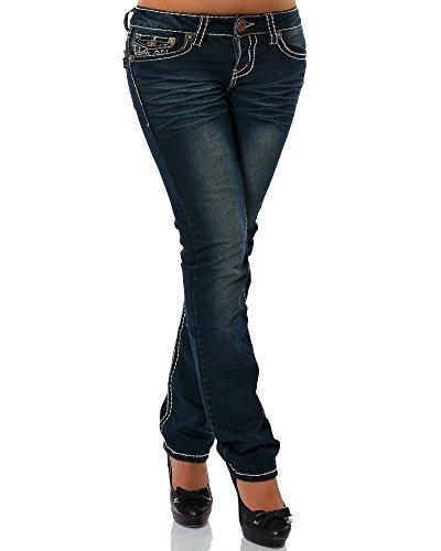 Daleus Damen Jeans Straight Leg (Gerades Bein Dicke Nähte Naht 17 Farben) No 12923, Dunkelblau, 36