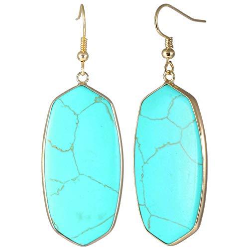 TUMBEELLUWA Crystal Quartz Stone Dangle Hook Earrings Oval Gold Plated