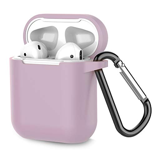 Coffea Protective Silicone Case with Keychain for Apple AirPods 1 & 2 (Front LED Not Visible) (Grayish Purple)