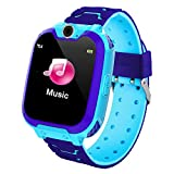 M/W Pulsera de Actividad Inteligente, Monitor de Actividad Deportiva, Reloj Inteligente para niños, Llamada telefónica de Emergencia, Reloj Inteligente con cámara, Juegos de música (Azul)
