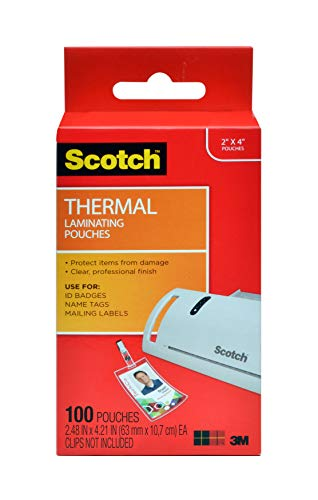 Scotch Thermal Laminating Pouches, 5 Mil Thick for Extra Protection, 2.4 x 4.2-Inches, ID Badge without Clip, 100-Pouches (TP5852-100)
