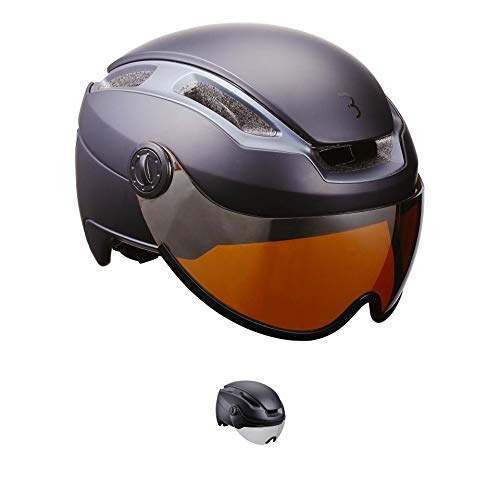 BBB Cycling Unisex-Adult BHE-56F Fahrradhelm Indra Speed 45 faceshield| Urban + E-Bike| Safety Superleichter Verstellbarer Integrale Helm| Venturi System M, Matt Schwarz/Smoke, M (55-58 cm)
