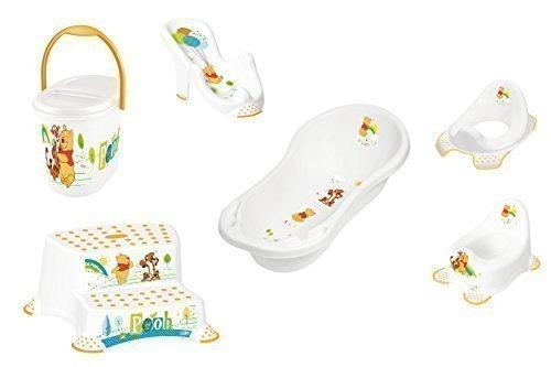 6er Z Set Winnie Pooh weiß Badewanne XXL 100 cm + Badesitz + Töpfchen + WC Aufsatz + Hocker zweistufig + Windeleimer Neu