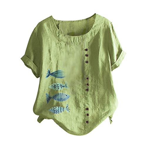 YBWZH Damen Tunika Leinenbluse Einfarbig Leinen Langarmshirt Lässiges Rundhals Tunika Tops Blusenshirt Lockere Langarm Oberteile T-Shirt Lose Tops Bluse Pullover