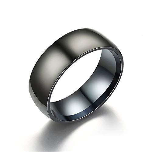 24 JOYAS Anillo Negro Titanio. Alianza de Compromiso, Boda, Aniversario y Regalo romántico para Hombre y Mujer (22)