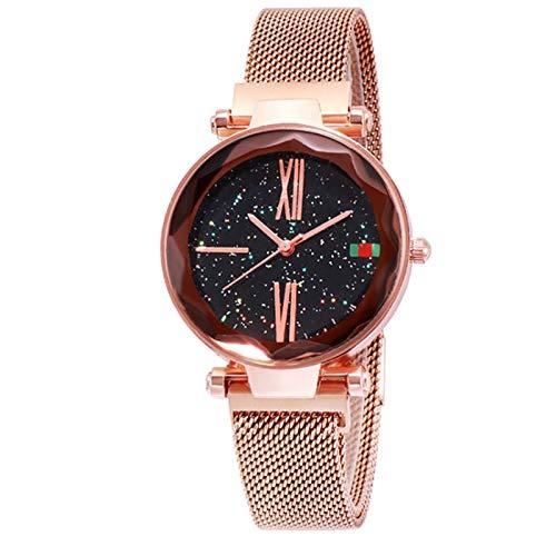 QHG Moda para Mujer Relojes Rhinestone Acero Inoxidable Mujer Reloj de Pulsera Starry Sky Watch Reloj Impermeable para Damas de Cuarzo (Color : Gold)