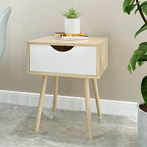 MissZZ Bedroom Wood Nightstand Bedside Table with Storage Drawer for Lamp Storage Cabinet Table for Corner Sofa End Side Table for Living Room Hallway Entryway Bathrooms