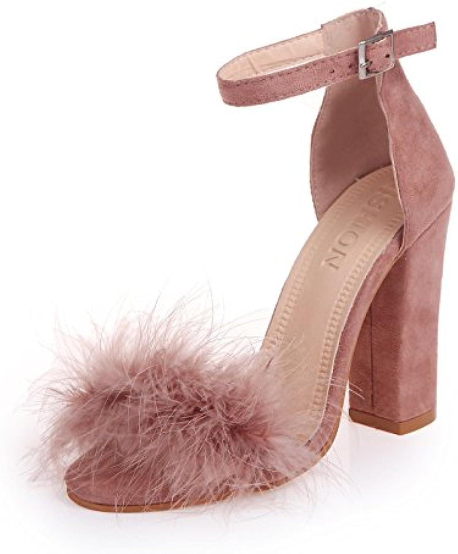 HOESCZS High Heels New Open Toe Flacher Mund Große Größe Damenschuhe Schnalle High Heel Sandalen Damenschuhe B07P9H3XVR  Kaufen