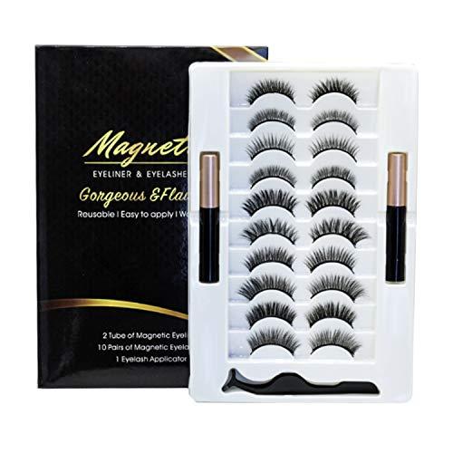 NEPAK 10 Paia Di Ciglia Finte Magnetiche 3D Sono Eyeliner Magnetico Di Alta Qualità Fatto a Mano e Kit Per Ciglia Magnetiche, Aspetto Naturale, Riutilizzabili, Senza Colla Necessaria
