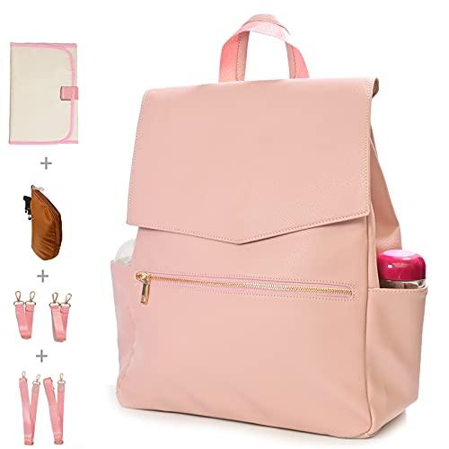 KZNI Leather Diaper Bag Backpack, Diaper Backpack Nappy Baby Bags for Mom Unisex Maternity Diaper Bag with Stroller Hanger|Thermal Pockets|Adjustable Shoulder Straps|Water Proof| LargeCapacity (Pink)