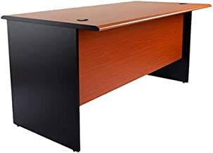 Mahmayi Silini 140 Plain Solid Wood Office Desk with Two Grommets Cable Management - Cherry/Black