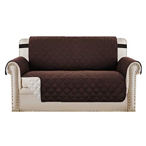 Sofa Cover Sofa Schutzhülle Sofa Protector für Hunde Haustiere, wattierte Quick Drape Reversible Möbelhülle, mit breiteren Trägern im Raum bleiben, (Zweisitzer/Love Seat - Braun/Beige)