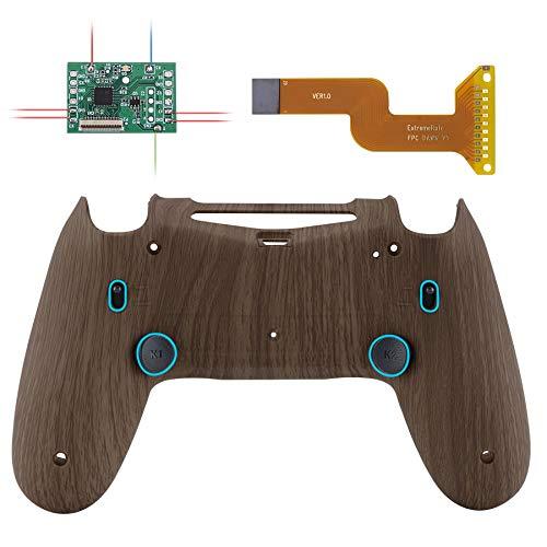 eXtremeRate Dawn 2.0 Remap Kit Trigger Stop per Playstation 4 Joystick CUH-ZCT2 MOD Chip&Cover Posteriore&2 Tasti Posteriori&Blocco Griletto per PS4 Controller JDM-040/050/055(Venatura del Legno)