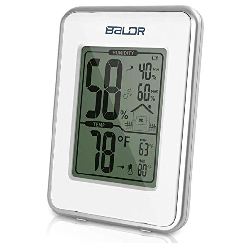 EGOERA® Digital Thermometer Hygrometer Innen Außen, Luftfeuchtigkeit/Temperatur und Luftfeuchtigkeitsmesser/Luftfeuchtigkeitsmessgerät, Weiß