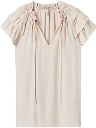 Scotch & Soda Maison Damen Soft v-Neck top with Ruffle Sleeves Bluse, Rosa (Light Blush 2096), Small