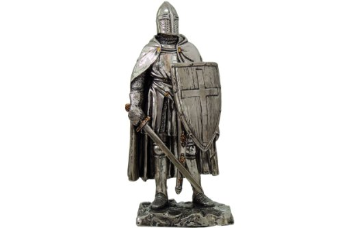 Crusader Knight Statue Silver Finishing Cold Cast Resin Statue 7' (8711)