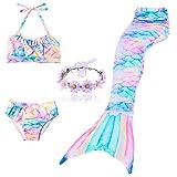 DAXIANG 3 Pièces Maillot de Bain Princesse Queue de Sirène Mermaid Bikini(Il y a la Boucle au Bas de la Queue,Pouvez Ouvrir pour Marcher ou Fermer pour Ajouter Monopalme) (120(4-5 Ans), Arc en Ciel)