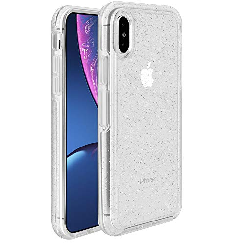 Krichit Phone Protective Case, Ongoing Clear Series Case for iPhone X & iPhone Xs Case, Anti-Drop Shock Absorption for Apple iPhone X, Xs, 10 Case (Silver Flake/Clear, iPhone X/Xs)