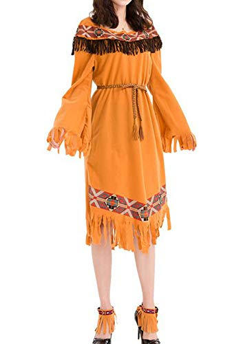 Huateng Frauen Indianer Kleid Cosplay Indianer Kostüm, Kleid, Gürtel, Stirnband, Armband und Beinmanschetten