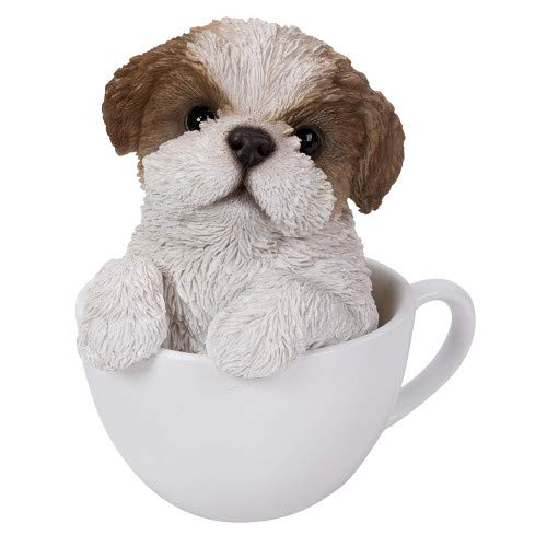 Pacific Giftware Adorable Teacup Pet Pals Puppy Collectible Figurine 5.75 Inches (Shih Tzu)