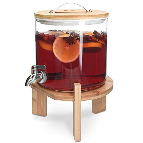 Navaris 5L Getränkespender mit Zapfhahn aus Edelstahl - Glas Wasserspender mit Stand aus Bambus Holz - Spender aus hitzebeständigem Borosilikatglas