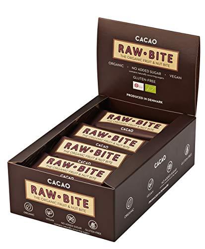 RAWBITE CACAO in der 12er Box - Vegan, glutenfrei & ohne Zuckerzusatz (enthält von Natur aus Zucker) – Bio Frucht-Nuss-Riegel mit Kakao (12 x 50 g)