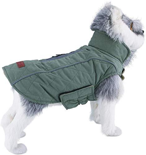 ThinkPet Hunde Outdoor Jacke Gepolsterte Reversible Warme Canine Coat Kältebeständig Für Herbst Winter mit Reflektierenden Streifen, EINWEG Verpackung