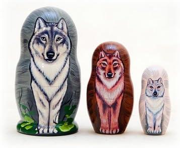 Wolf Pack Nesting New Orleans Mall Doll 3pc. Grey Cheap Matryoshka 3