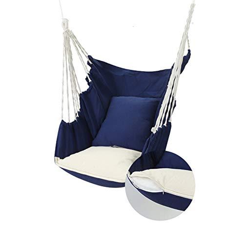 Silla de Hamaca Columpio Hamaca Asiento Relajante Silla de Columpio 200 kg Cojinete de Carga para el Interior al Aire Libre Patio de la casa Patio Patio Jardín (Color : Blue)