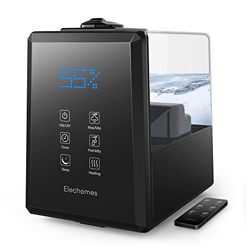 Elechomes UC5501 Ultrasonic Humidifier 6L Vaporizer Warm and Cool Mist for Large Room Baby Bedroom with Remote, Customized Humidity, LED Touch Display, Sleep Mode, 12-40 Hours, 550ml/h Max Humidity