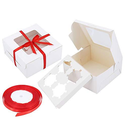 Gearific Cupcake-Boxen, 10er-Pack-Kuchenboxen mit herausnehmbaren Einsätzen, weiße Backwaren-Cupcake-Behälter mit Fenster für Muffins-Kuchen, Donut, Macarons (4 Loch)