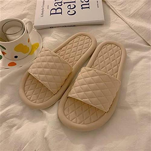 YYFF Sandalias Playa,Slip Fashion Slippers,indossando Wild e Cold-Apricot_40 / 41,Tira Ancha Suela con Agujero