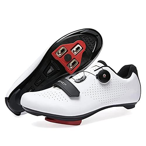 Mujer Zapatillas de Ciclismo para Hombre Zapatillas de Bicicleta de Carretera compatibles con Look SPD SPD-SL Delta Cleats Zapatillas de Spinning para Interiores Exteriores Blanca245