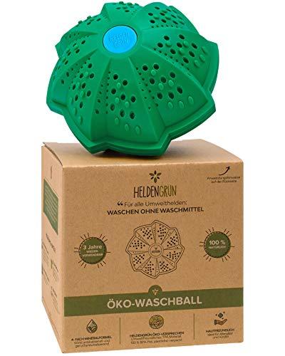 Heldengrün® Öko Waschball [4-FACH WASCHFORMEL] - Waschen ohne Waschmittel - Laborgeprüft - Waschmittel für Helden, Allergiker und Kinder - Nachhaltige Produkte: Zero Waste Waschkugel für Waschmaschine