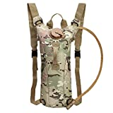 Haluoo Hydration Pack, Army Camouflage Water Backpack Leak Proof Water Reservoir with 3L Water Bladder Military Water Storage Bladder Bag for Hunting Climbing Pouch Survival Outdoor Backpack (C)