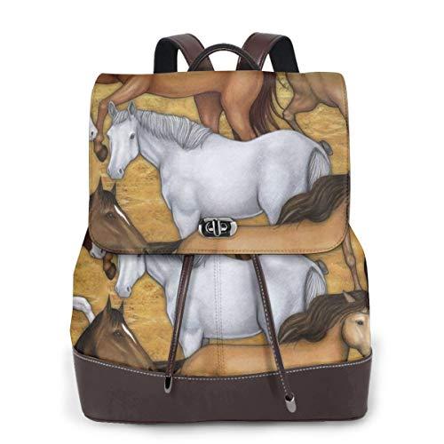 Zaino Donna Vera Pelle Cavalli selvaggi 14 Borsa Da Viaggio a Grande Capacità, Borsa a Tracolla Lady Fashion Backpack Daypack Per Scuola Viaggio Lavoro